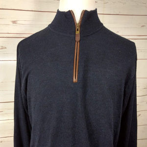 Orvis 1/4 Zip Pullover  Charcoal Sweater 100% Wool
